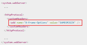 x-frame options iis web config